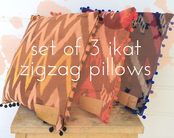 """set of 3 Pillow cases from IKAT fabric with zigzag design and pompom trim 16x16"""" set DEAL"""