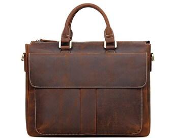 "Messenger Bag for 15 ""laptops made of genuine leather"