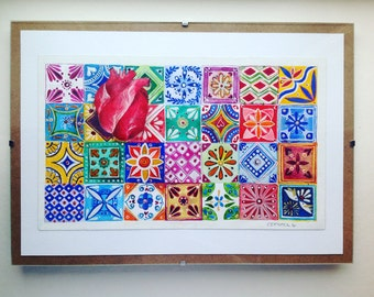 Original art. Watercolor painting. Framed. Unique piece. Heart Tiles. Mexican style. Colorful. Fabriano paper. 300gms. Acrylics