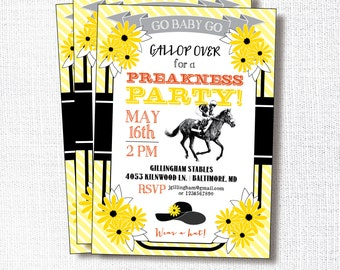 Preakness Stakes Party Invitation, Printable, Preakness Invite, Horse Racing, Race, Black Eyed Susan, Yellow, Black