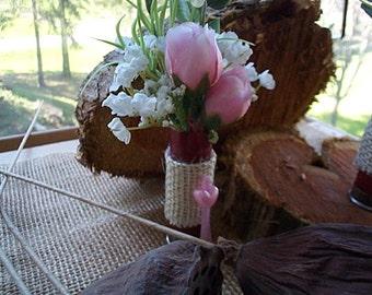 Pink And White Silk Flowers Shot Gun Shell Boutonniere