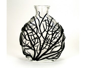 Black Sea Fan Glass Vase - Surge  /  Clay, Home Decor, Ocean, Coral, Waves, Surge, Bud Vase