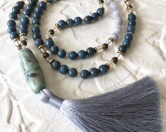 Ocean's Current 108 bead mala tassel necklace