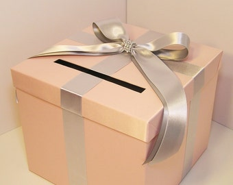 Wedding Card Box Silver and Blush Pink Gift Card Box Money Box  Holder--Customize your color