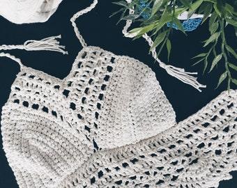 Crochet Halter Crop Top | Lace-up top | Crochet Crop Top | Festival Bralette