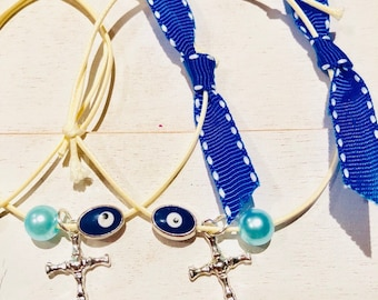 Neutral wax cord witness bracelet in blue and evil eye mataki in silver