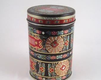 Pretty round tin - decorative tin - printed tin - abstract design tin - candy tin - cookie tin - gift tin
