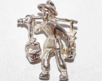 Vintage Sterling Silver Bracelet Charm 3d Street Vendor Man Carrying Baskets