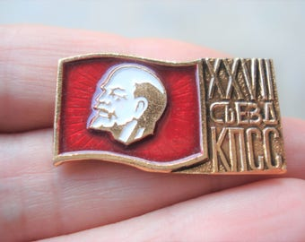 Lenin Pin Vintage Collectible Russian Soviet Pin Badge USSR History Pin 27th Congress CPSU Communism Propaganda Socialism  Communist Party