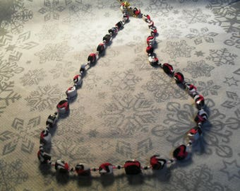 beautiful unique NECKLACE, stylish and original pink, white and black