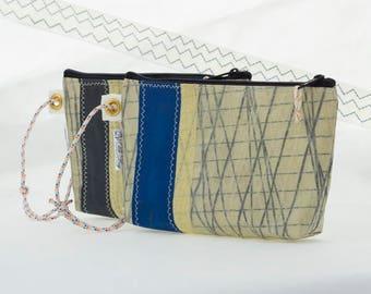 Wristlet purse, Kevlar Carbon Fiber, Sail Cloth Bag, Recycled Kevlar Sail, zipper pouch, vegan sailbag