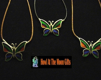 Butterfly Medallion Cloissone Pendant Leather Rope Necklace