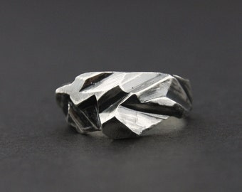 Fractured Facet Ring: Oxidised Sterling Silver Faceted Ring