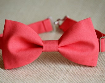 Coral pink bow tie, coral bow ties, men's wedding bow tie, boys bow tie, groomsmen bow tie, groom bowtie, salmon,, ringboy pre-tied bow tie