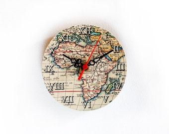Africa Wooden Clock, Magnetic Clock, Vintage Clock, Little Clock, Small Clock, Worldmap Clock -  5 inch - 12 cm., ohtteam