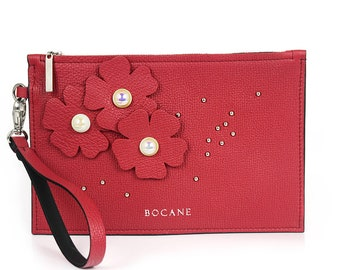 Leather Wristlet, with Studded Design in Deep Red Leather, Fleur Collection
