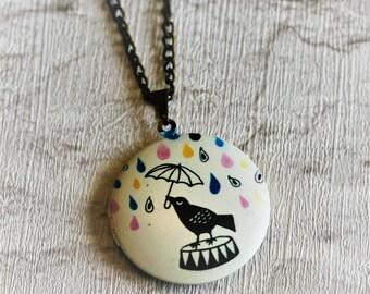 Birds Locket Necklace, Bird Necklace, Woodland, Bird Holding Umbrella