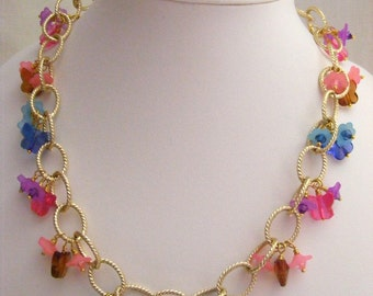 Butterflies and Flower Chain Necklace