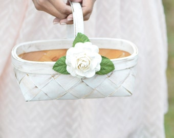 Cottage chic flower girl basket- custom your colors!