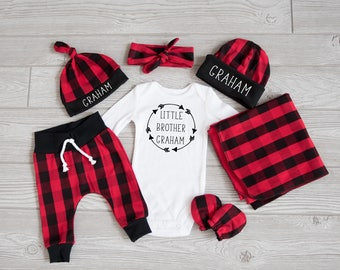 Baby Boy Coming Home Outfit, Christmas: CHOOSE COMBO Personalized Little Brother Bodysuit, Buffalo Plaid Pants, Hat, Swaddle, Mitts, Headba