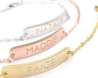 Personalized Name Bracelet, Custom Bracelet, Engraved Bracelet, Bridesmaid Gift, Gold Name Bracelet, Personalized Gift, Personalized Name
