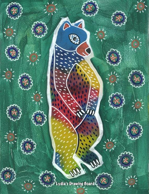 Bear, Bear Art, Bear Art Print, Bear Artwork, Bear Print, Mexican Art, Mexican Folk Art, Animal Art, Animal Artwork, Animal Art Print, Totem