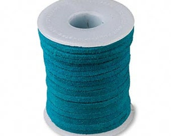 Genuine Suede Leather Cord Lace Turquoise Blue 3mm wide for necklaces and bracelets, 10 or 25 ft.