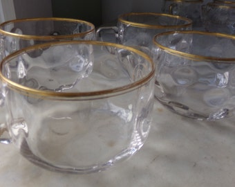 Antique Glass Punch or Coffee Cups with Gold Trim Circa 1900