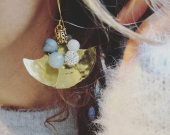 Gold earrings dangle, moon earrings, hammered gold earrings, gold drop earrings, gemstone earrings, handmade gold earrings, aquamarine earri