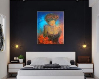 """Red Blue abstract art,Figurative oil canvas art 24""""x30"""" sexy bedroom painting,abstract woman figure,lady in lingerer feminine art,boho style"""