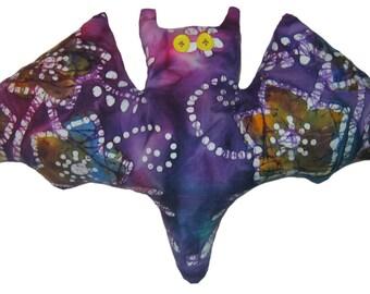 Purple Batik Bat Pillow