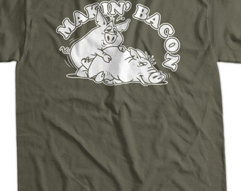 Makin' Bacon Pig Screen Printed T-Shirt Tee Shirt T Shirt Mens Ladies Womens Funny Geek Food Foodie