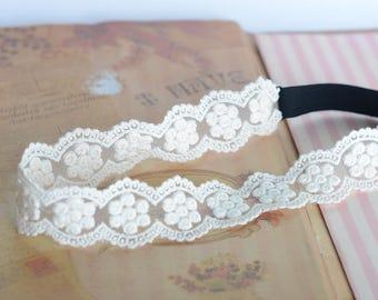 white lace headband,women headband,bridal headwrap,wedding headpiece,women's gift,