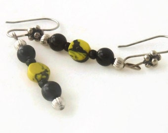 Navy Blue Sapphire Yellow Mosaic Jasper Dangle Gemstone Earrings, Modern Style, 1 inch