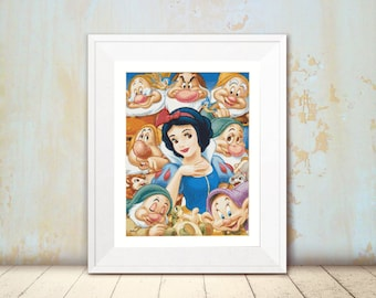 Cross Stitch Pattern - Snow White and The Seven Dwarves  - Instant Download