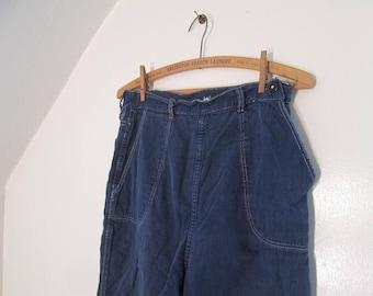 Vintage side zipper Jeans flannel lined 50s Side Zip Jeans Distressed repairs Vintage blue denim pants High waist 29 waist