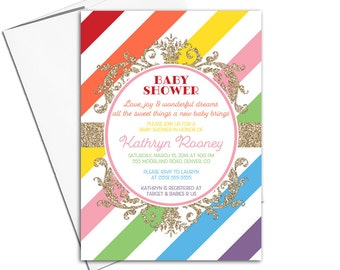 Rainbow baby shower invitations, gender neutral baby shower, multicolored rainbow invitations gold, printable or printed - WLP00761
