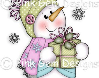 Digi Stamp 'Chilly with Gift' Snowman. Makes Cute Christmas Cards