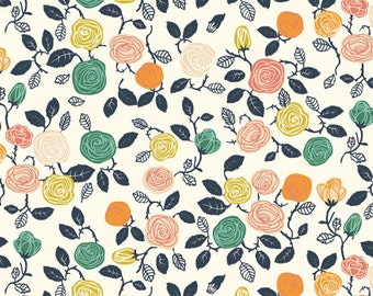 """Organic Cotton Knit With Roses and Leaves on a Creamy Off White Background 45"""" Wide Sold by the Half Yard from Birch Fabrics by Miriam Bos"""