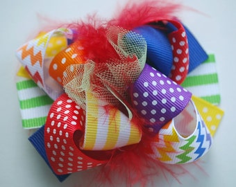 boutique ITSY-BITSY hip RAINBOW chevron hair bow clip