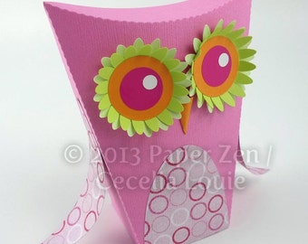 Owl - Paper Gift Box Die Cutting with SVG files and PDF instructions for Silhouette and Cricut machines