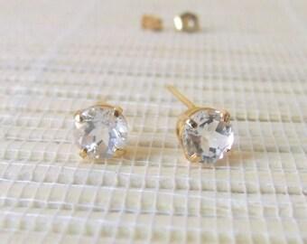 White Topaz Gold Fill earrings April Birthstone 6mm