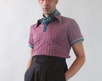 1940s polo shirt with spearpoint collar, vintage style polo, mens retro shirt, vintage style sportswear, lindy hop shirt