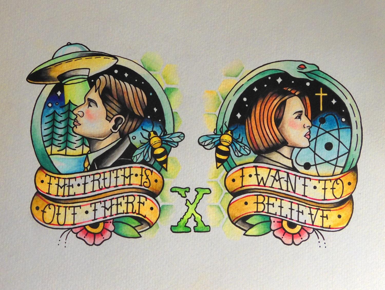 The X-Files Inspired Tattoo Flash Print