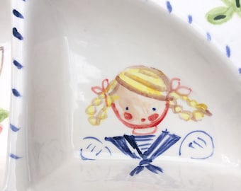 Baby Bowl, Ceramic Divided Bowl, Personalized Plate, Gift for Girl, Birthday Gift, Unique Gift