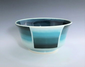 Teal Ceramic Bowl, Porcelain Cereal Bowl, Porcelain Bowl, Ceramic Soup Bowl, Teal Ombré Bowl, Wheel Thrown Pottery Bowl, Ceramic Candy Dish