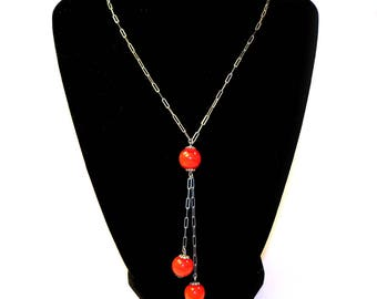 Vintage 1920s Sterling Silver Link Chain with Enamel Beads Long Sautoir Flapper Necklace