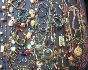 Lot of Vintage costume jewelry green orange & amber colors some gorgeous pieces