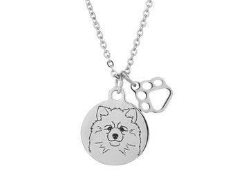 Keeshond Charm Necklace, Stainless Steel Keeshond Necklace, Keeshond Jewelry, Keeshond Gift