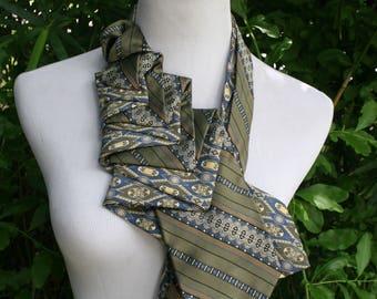 RecycledNeckties ~ Necktie Necklace - BLUE & GREEN Silk Tie / GREEN Striped Silk Tie - Women's Silk Necktie - Necktie Scarf - Silk Scarf